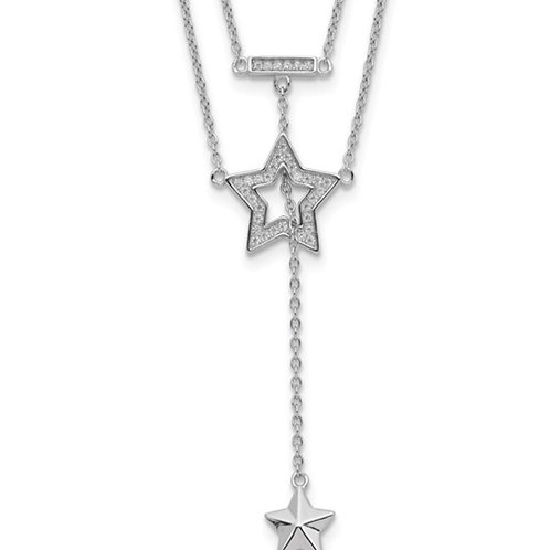 Sterling Silver Rhodium-plated 2-Strand CZ Star with 1in. Ext. Necklace