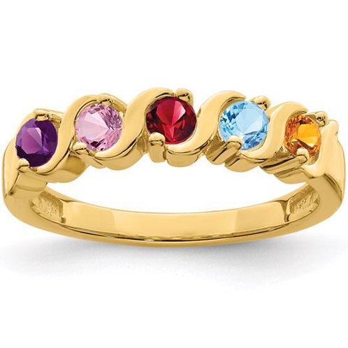 10k Polished 5-Stone Mothers Ring Mounting