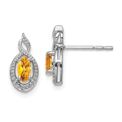Sterling Silver Rhodium-plated Citrine and Diam. Earrings