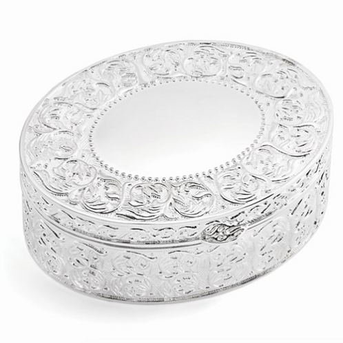Silver-Plated Large Floral Oval Jewelry Box