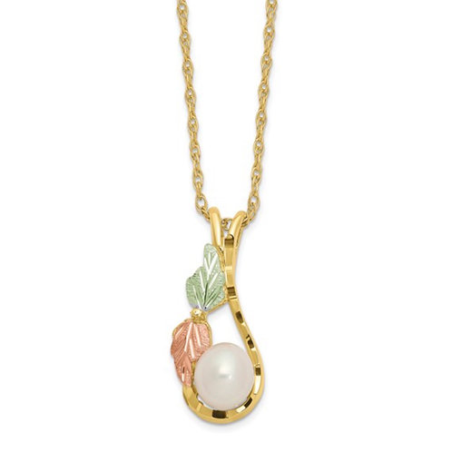 10K Tri-color with 12K Accents FWC Pearl Black Hills Gold Necklace
