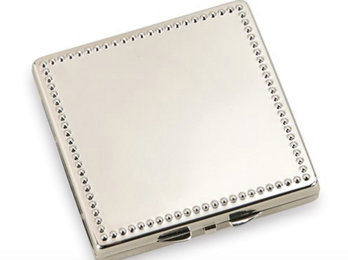 Nickel-Plated Beaded Square Compact Mirror