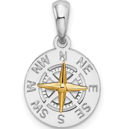 Sterling Silver Polished Mini Compass with 14k Needle Pendant