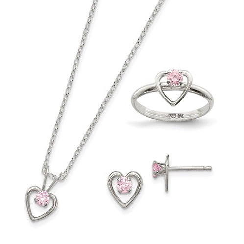 """Sterling Silver Childs 15"""" Necklace, Earrings and Size 3 Ring Set"""