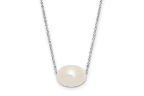 14K White Gold 10-11mm Round White FWC Pearl Rope Necklace