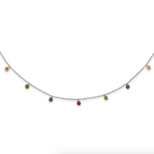 Sterling Silver Rhodium-Plated Dangling Colorful CZ With 2in Ext Necklace