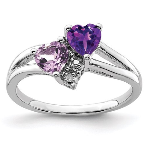 Sterling Silver Rhodium-plated Amethyst and Pink Quartz and Diamond Ring