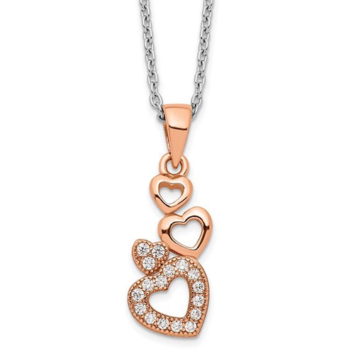 Sterling Silver Rose-tone CZ Brilliant Embers Hearts Necklace