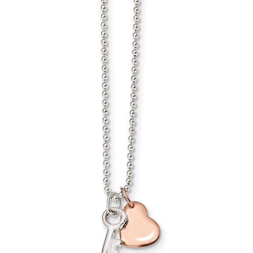 Sterling Silver Rose-tone Heart with Key 19 inch Necklace
