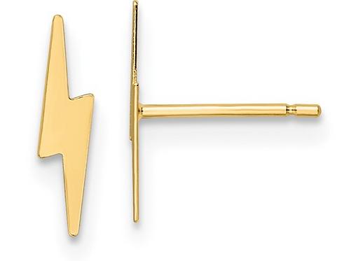 14K Polished Lightening Bolt Post Earrings