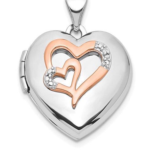 Sterling Silver Rhodium-plated Diamond Rose Rhodium Hearts 18mm Locket