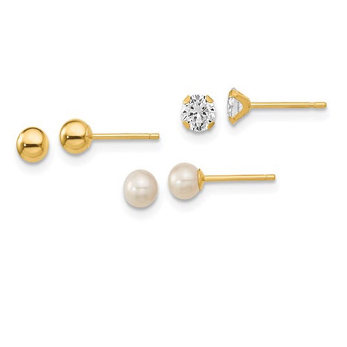 14k Madi K Ball, CZ and Freshwater Cultured Pearl 3 Pair Earring Set