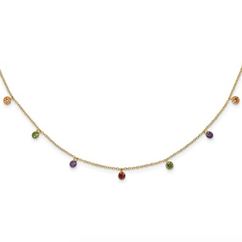 Sterling Silver 14k Flash-Plated Dangling Colorful CZ With 2in Ext Necklace