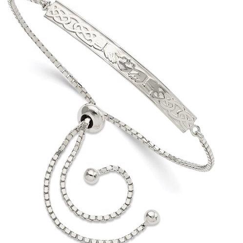 Sterling Silver Claddagh Adjustable Bracelet