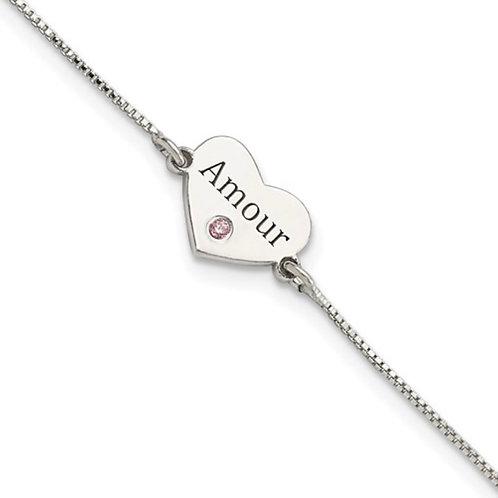 Sterling Silver CZ Amour Heart Bracelet