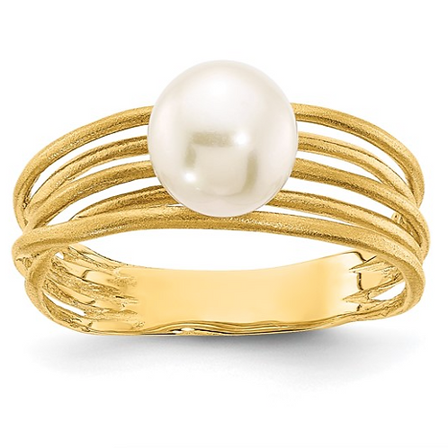 14K 7-8mm Round White Freshwater Cultured Pearl Brushed Ring
