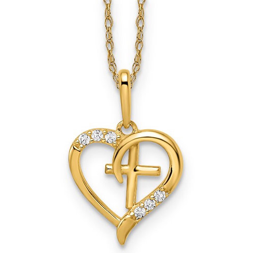 14k CZ Heart with Cross Necklace