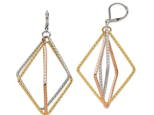 Stainless Steel Textured and Polished Yellow and Rose IP Leverback Earrings