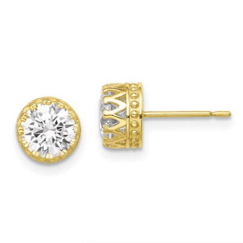 10k Tiara Collection 7mm Polished CZ Earrings