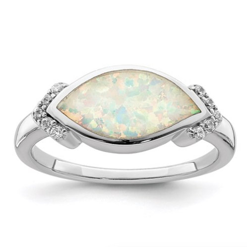 Sterling Silver Rhodium-Plated Marquise Lab Created Opal And CZ Ring