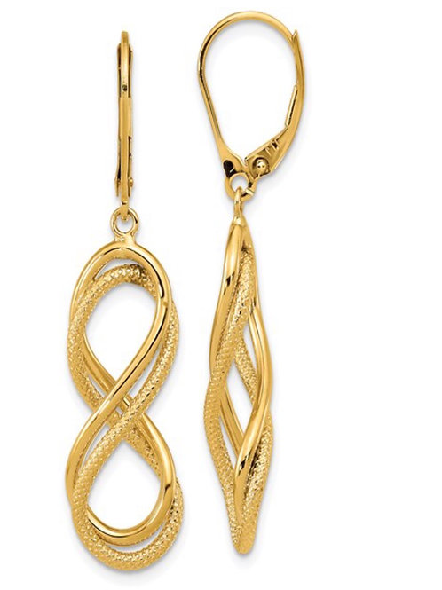 Leslie's 14K Polished Textured Infinity Leverback Earrings