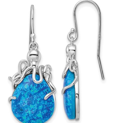 Sterling Silver Rhodium-plated Blue Lab Created Opal Octopus Dangle Earrings