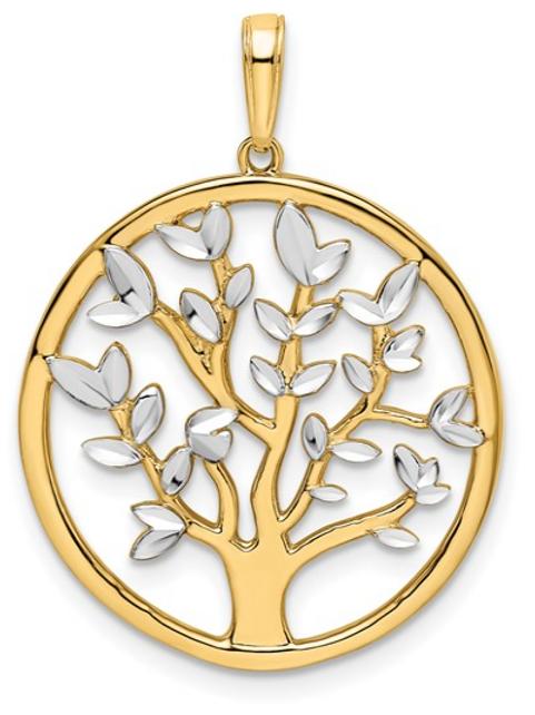 14k and White Rhodium D/C Tree of Life Pendant