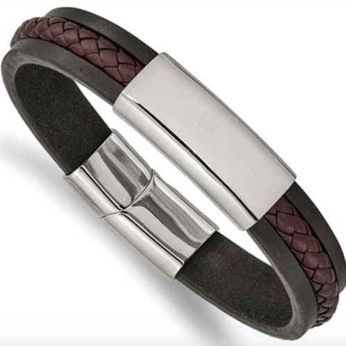 Stainless Steel Polished Black And Brown Braided Leather 8.25in ID Bracelet