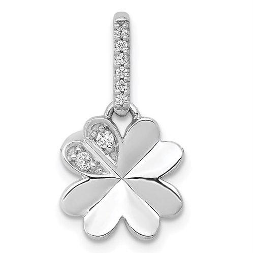 14k White Gold 1/15ct. Diamond Four Leaf Clover Pendant