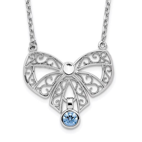 Sterling Silver Rhodium-plated Polished March Bow CZ Birthstone Necklace