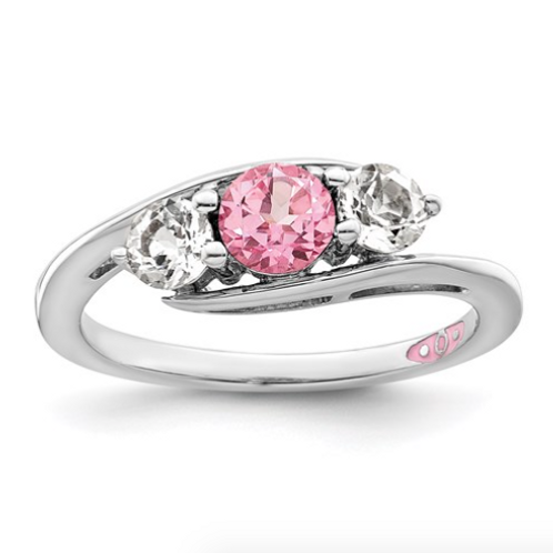 Sterling Silver Survivor Collection Clear And Pink Swarovski Topaz Sue Ring