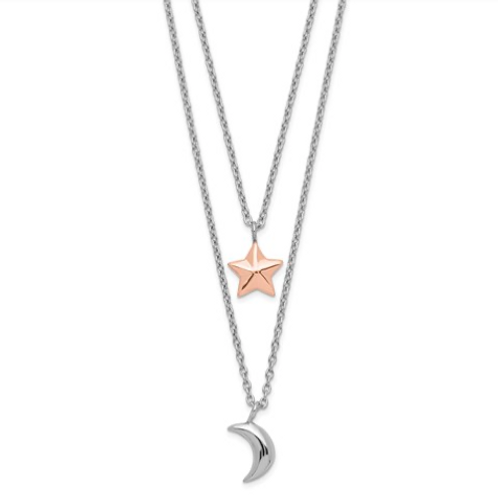 Sterling Silver Rose-Tone 2-Strand Moon And Star With 1in Ext Necklace