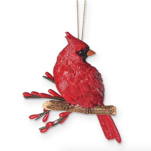 Resin Cardinal On Branch Ornament