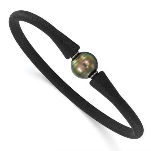 Stainless Steel Chisel And Silicone 10-11mm Tahitian Pearl Bracelet