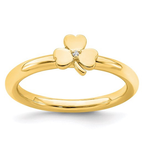 Sterling Silver Stackable Expressions Yellow-plated Dia. Clover Ring