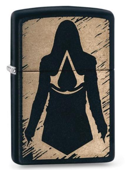 Zippo Black Matte Laser Engraved Assassin's Creed Lighter