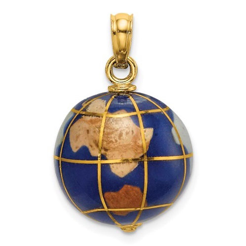 14K 3-D Enamel World Globe Charm