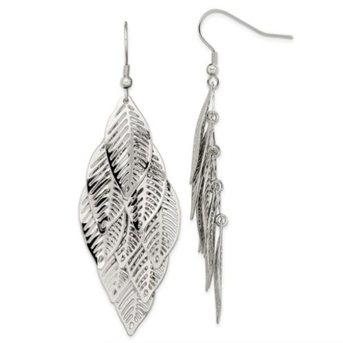 Stainless Steel Polished Leaves Dangle Shepherd Hook Earrings