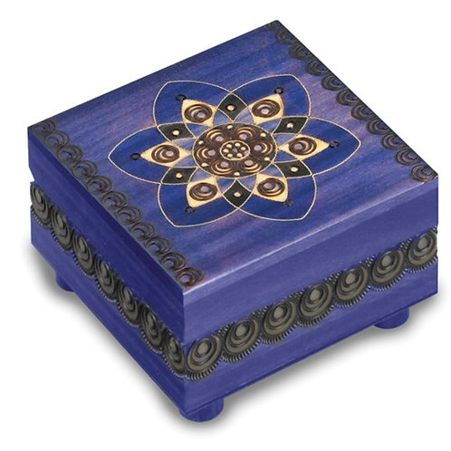 Blue Floral Carved Painted Wooden Puzzle Box