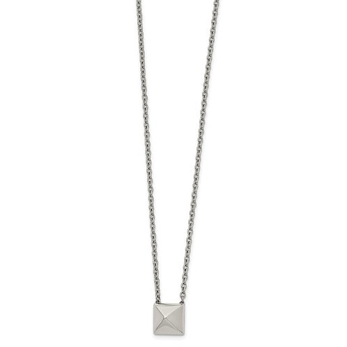 Stainless Steel Polished Pendant Square Stud 16in with 2 in ext Necklace