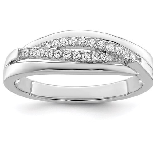 Sterling Silver Rhodium plated CZ Twisted Band