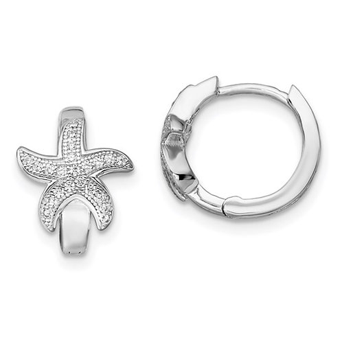 Brilliant Embers Sterling Silver Rhodium-plated Micro Pavé CZ Starfish Hoop Earr