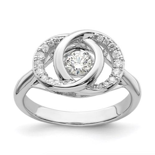 Sterling Silver Platinum-Pltd Swarovski Crystal/Vibrant CZ Ring