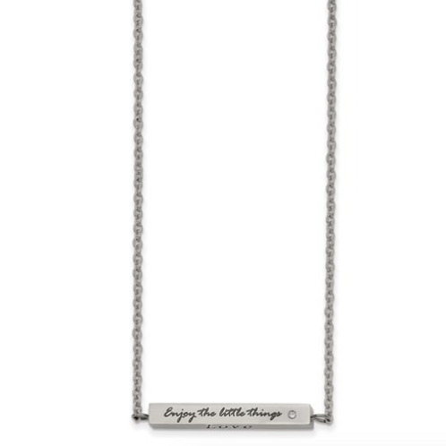 Stainless Steel Polished CZ Enjoy The Little Things 16in With 2in Ext Bar Neck