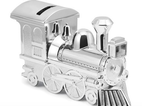 Silver-Tone Finish Train Bank