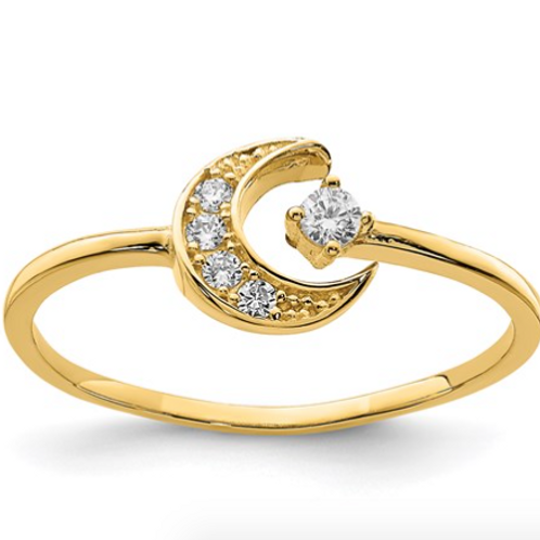 14K CZ Moon Ring