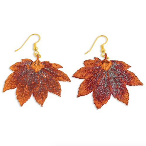 Iridescent Copper Dipped Full Moon Maple Leaf Dangle Earrings