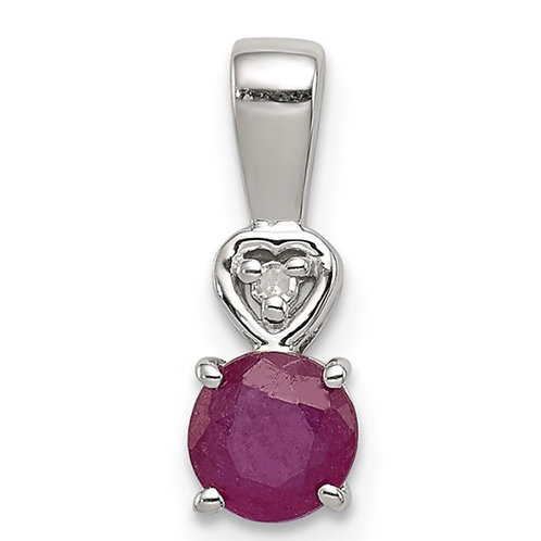 Sterling Silver Rhodium Plated Diamond and Ruby Round Pendant