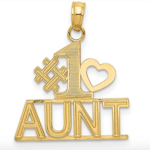 14K Gold Polished #1 AUNT With Heart And Block Pendant