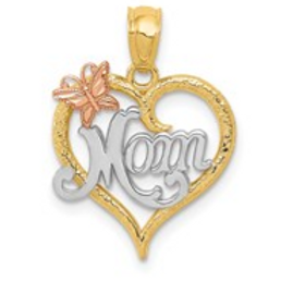 14k Two-Tone With White Rhodium MOM Heart Pendant